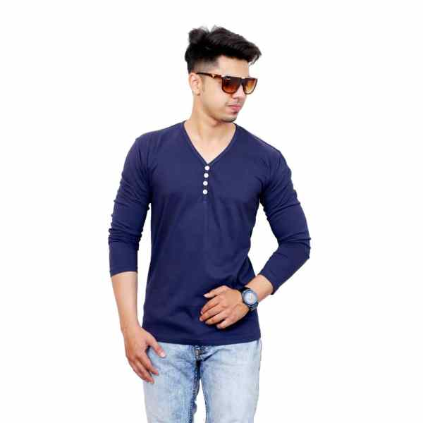 Solid Men V Neck Blue Full Sleeve T-Shirt