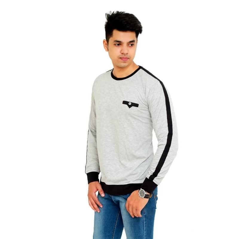 Color Block Men Round Neck Grey T-Shirt - Faricon