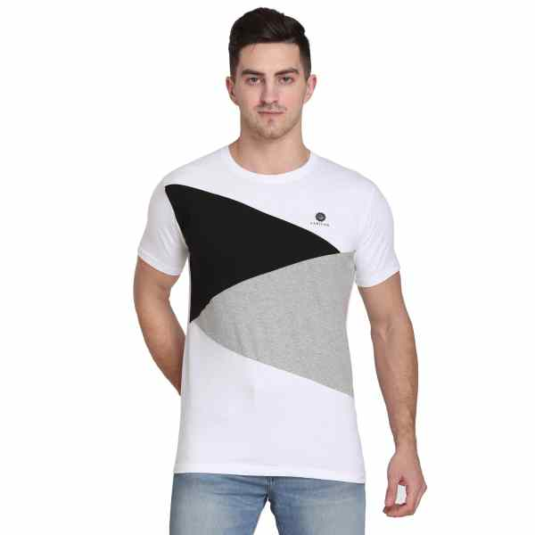 Color Block Men Round Neck Multicolor T-Shirt