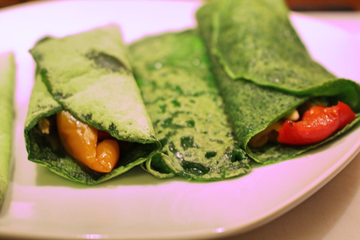 Crepes di tapioca e spinaci