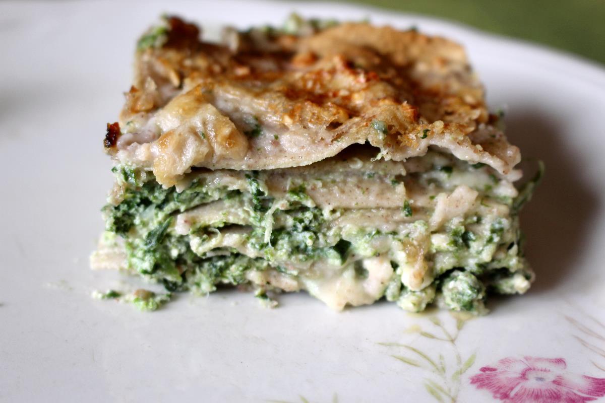 Lasagne di grano saraceno con spinaci