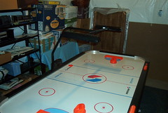 Air Hockey in the Basement