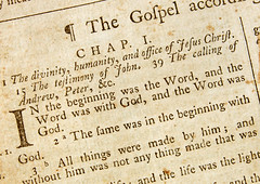 A 1770 Bible turned to John 1 verse 1