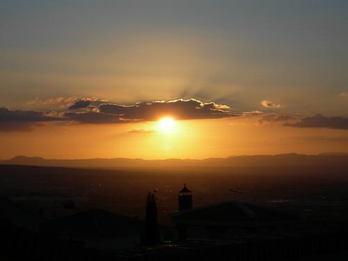Atardecer sobre la Vega Granadina, desde Monachil