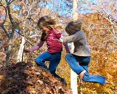 Two kids enjoy time together jumping into a pile of leaves