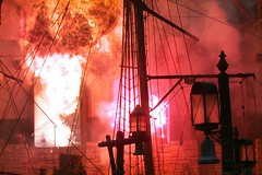pirate ship ablaze