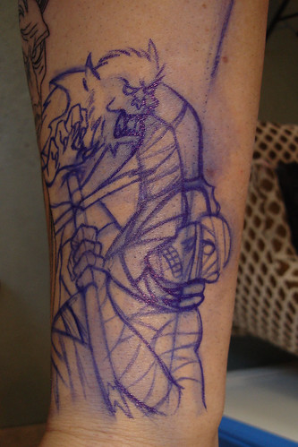 Vincent Price/Monster Mash/Creature Sleeve Tattoo - Step 3 More Drawing by