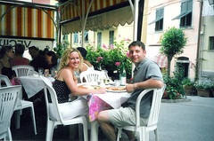 Enjoying our first pizza in Italy