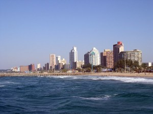 Looking back at Durban from the pier.