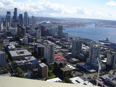 View of Seattle skyline and Elliot Bay from Space Needle