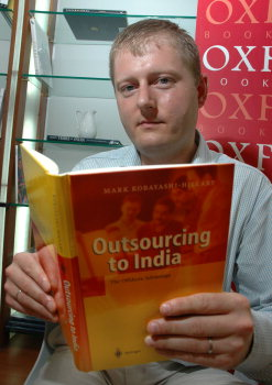 Mark Kobayashi-Hillary Speaking at the Oxford Bookstore, Bangalore - Aug 2004