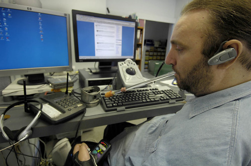 David Wallace, an IT coordinator with quadriplegia, in the workplace.