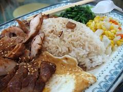 pork, chicken, rice, egg, vegetables, corn, carrots