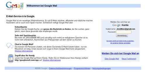 Google Mail-Startseite
