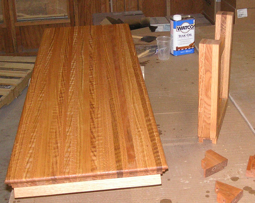 detail showing bench ready for assembly