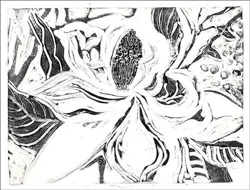 Magnolia Monoprint 1-A