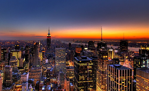 NYC New York City Skyline Sunset Wallpaper, Background