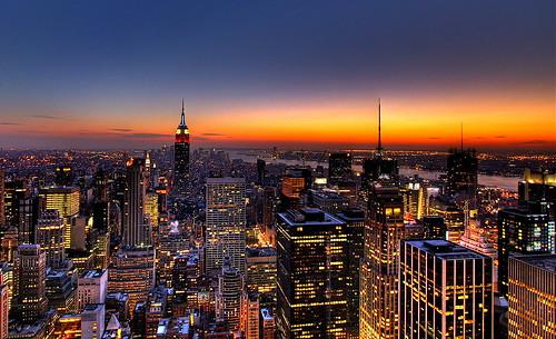 NYC New York City Skyline Sunset Wallpaper, Background