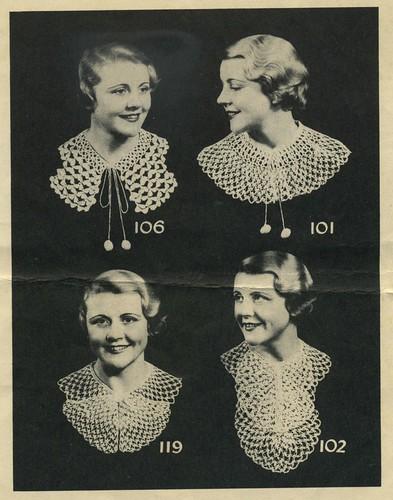 polar yarns crocheted collars 1930s
