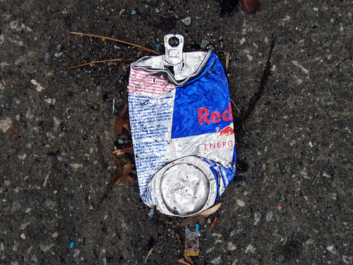 Smashed can of Red Bull.