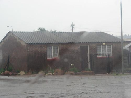 Typical Sowetan house in the rain