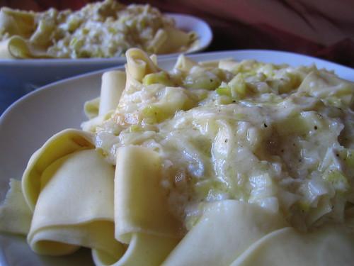 Pappardelle con Porri e Gorgonzola