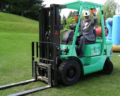 The Lord Mayor on a Forklift