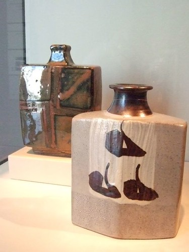 Square bottles by Hamada Shoji 1950-1960 Mashiko Japan stoneware with iron glaze