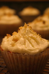 Carrot-Walnut Cupcakes (in silicon liner)