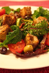 Warm Walnut Panzanella with Bacon, Tomatoes, and Olives