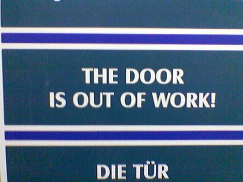 Sign on a door