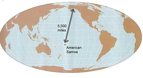 American Samoa to Bethel, 5500 miles