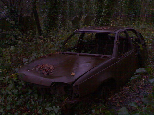Car dumped in cemetery