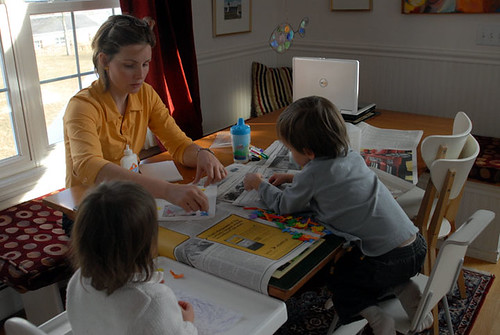 Joy, Mummy and Luke doing art together