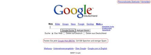Google Mail-Werbung