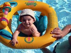 Babys first swim