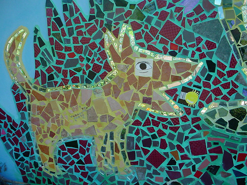 Dogs in modern mosaic art beagle boston terrior for Mural mosaic