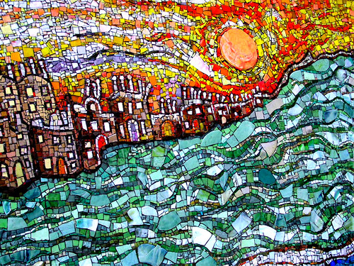 Smalti mosaic cityscape where hot meets cool glascow for Mosaic painting meaning