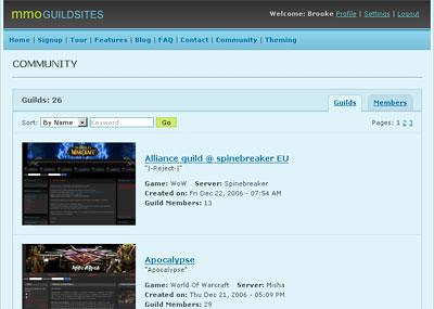 Community page screenshot