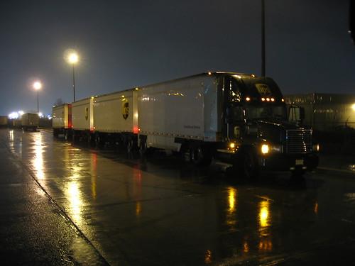 A rainy night at work