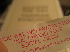 Fortune cookie promotes social networking