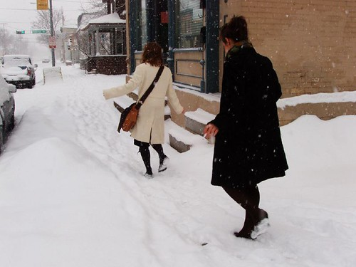 it's hard to walk in heels (or wedges, in Janelle's case) in snow