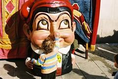 Little girl meeting the big head