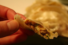 Inside a chipotle pork gyoza