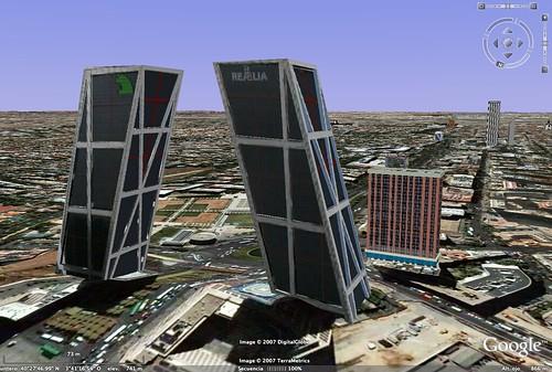 Google Earth 4, Madrid (Rascacielos Puerta de Europa)