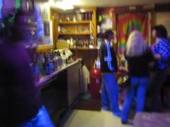 20070113 - Clint's 33rd Birthday party - Evan, Carolyn, Tabbitha - blacklight kitchen - 357432012_b025a1785e o