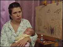 Russian woman with baby