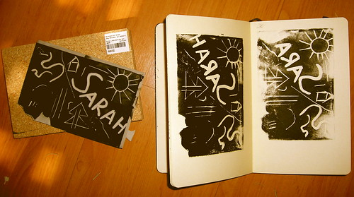 First Linoleum Block Printing in Moleskine