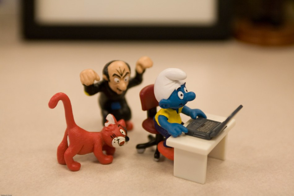 Gargamel and Azrael Sneak Up On Smurf While He Enjoys Flickr (Or Is He Surfing For Porn?)