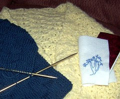 Alpaca shrug, acrylic scarf and embroidered book cover